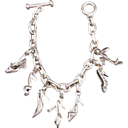 FINE ARF Sterling Silver Charm Bracelet with Stamped High Heel Shoes