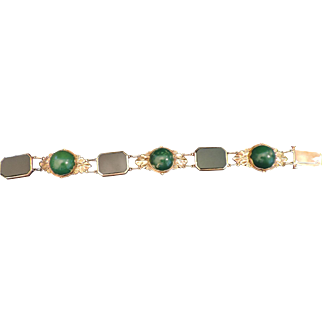 Black Onyx & Green Turquoise 18K Gold Bracelet Made by MR
