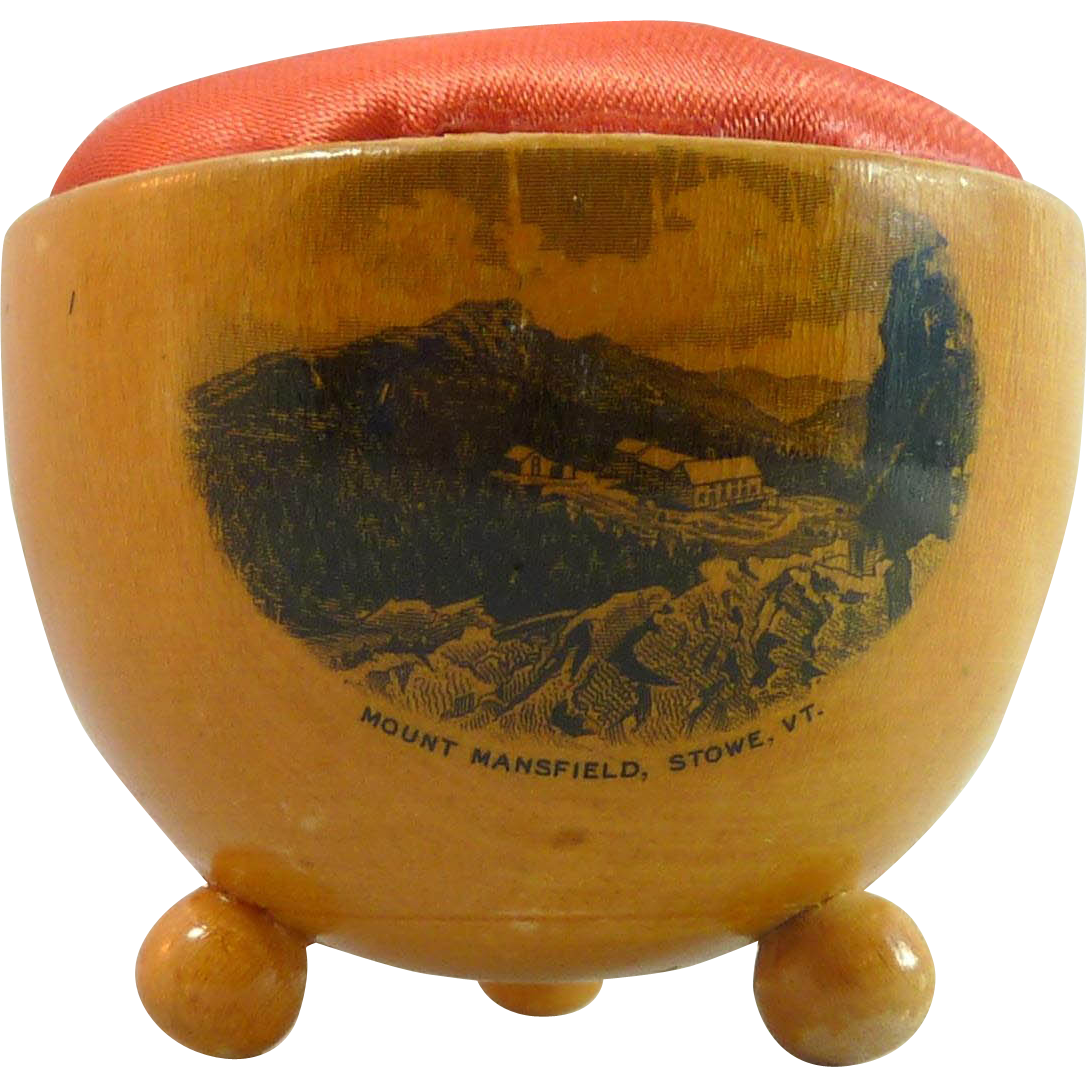 Mauchline Ware Kettle Pin Cushion – Mount Mansfield, VT