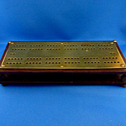 Heavy Bakelite Cribbage Board with Brass Top