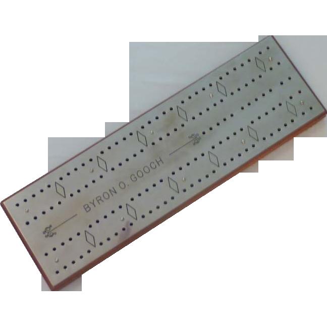Cribbage Board with Polished Steel Top – Byron O. Gooch