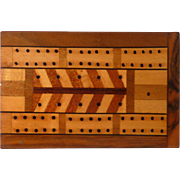 Inlaid Wood Cribbage Box