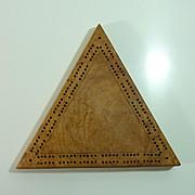 Wood Triangular shaped Cribbage Board