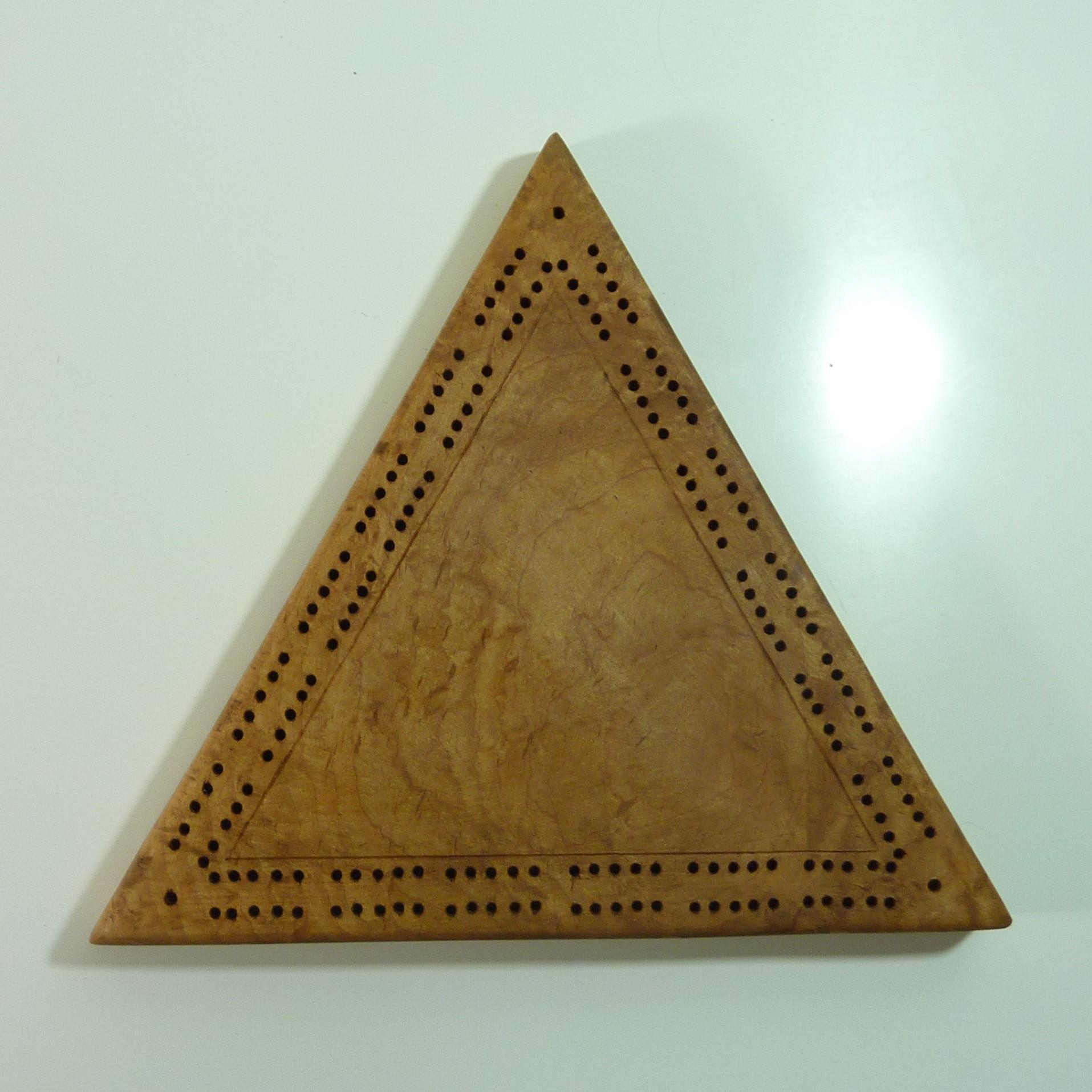 Wood Triangular shaped Cribbage Board