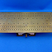 Brass Cribbage Board with Card Holder