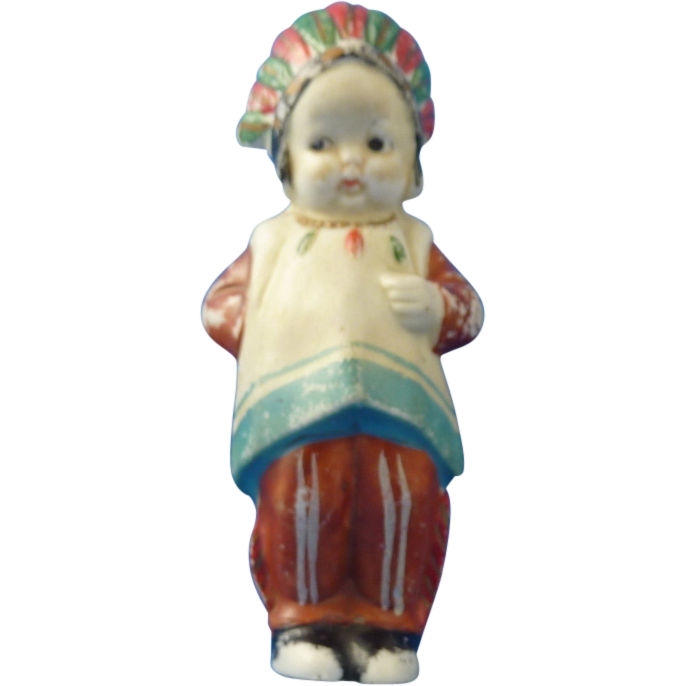 Old Bisque Native American Doll – Made in Japan