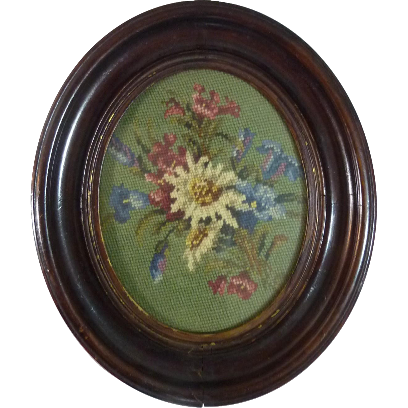 Vintage Framed Oval Floral Needlepoint Picture