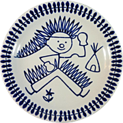 Mid-Century Rorstrand Child's Plate with American Indian