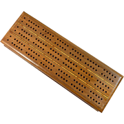 Wood Cribbage Box with Hinged Lid