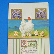 Easter postcard with embossed chicks - 1916