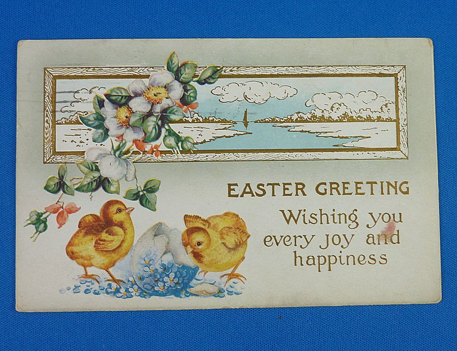 Easter postcard with chicks - 1916