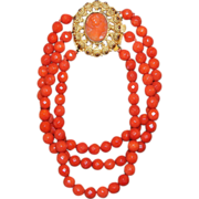Faceted Coral Bracelet With Georgian Cameo Clasp