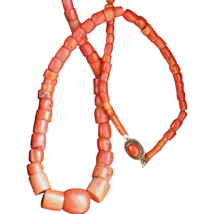 Antique Coral Trade Bead Necklace With Coral Clasp