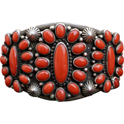 Classic Heavy Natural Oxblood Coral Navajo Bracelet