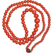 Antique Coral Necklace With Carved Coral Clasp