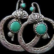 Navajo Hoop Earrings With Turquoise Suspended Drops