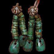 Navajo/Pueblo Pump Drilled Green Turquoise Earrings