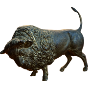 1870's French Ormolu Gilt American Bison Bronze