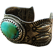 1930's Navajo Stamped Bracelet With Tonopah Turquoise