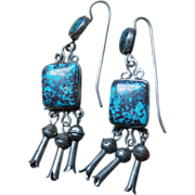 1950's Bisbee Turquoise Earrings With Blossoms