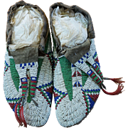Lakota Men's Moccasins With Beaded Tongues and Horse Hair  1890
