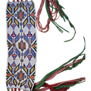 19th Century Chippewa Indian Beaded Hair Wrap