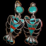 Frank Vacit Zuni Inlay Earrings