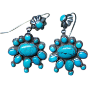 Navajo Button and Cluster Earrings With Morenci Turquoise