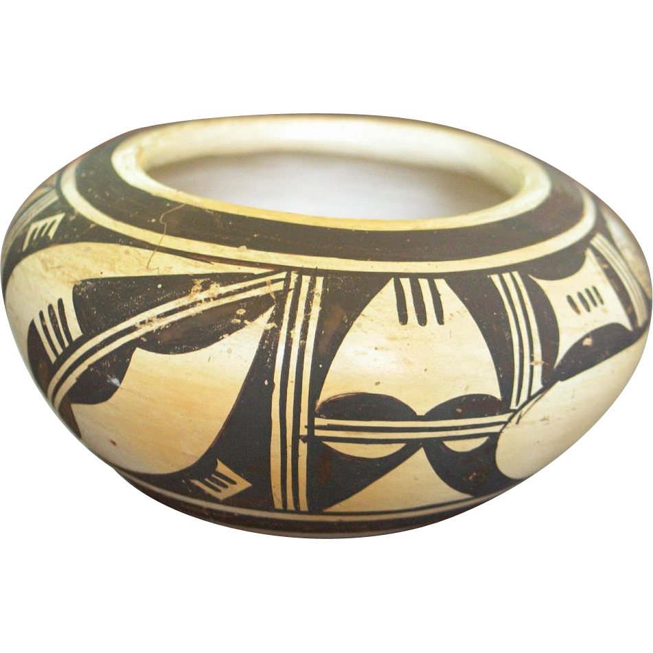 Small Hopi Polychrome Bowl with Stylized Black Parrot and Red Ochre Kiva Steps Design