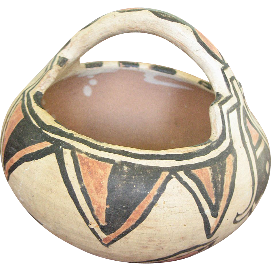 Early Santo Domingo Polychrome Basket Pot