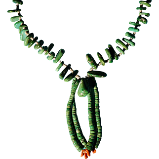 Santo Domingo Pueblo Green Turquoise Nugget  Necklace