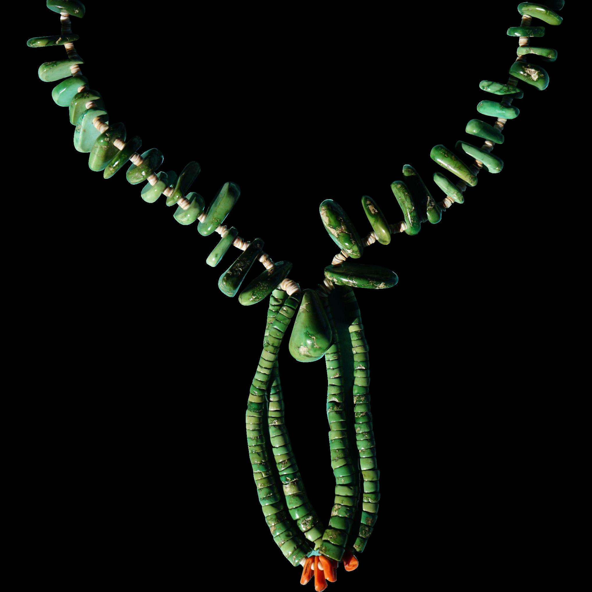 Santo Domingo Pueblo Green Turquoise Nugget  Necklace