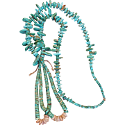 Tradtional Navajo Turquoise Ceremonial Necklace With Jacla