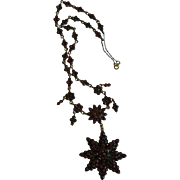 Victorian Bohemian Garnet Star Necklace