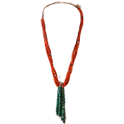Five Strand Coral Necklace With Two Large Jacla