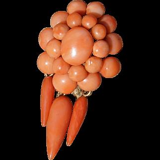 Victorian Coral Pendant Pin