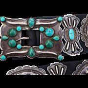 Vintage Turquoise Concho Belt