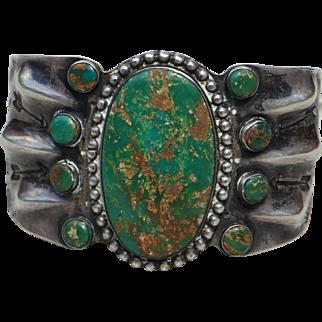 Vintage Cerrillos Turquoise Cuff Bracelet