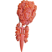 Antique Carved Coral Brooch