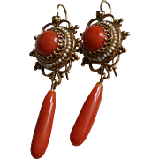 Vintage Coral Drop Earrings