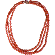 Three Strand Coral Necklace With Ruby And Diamond Clasp
