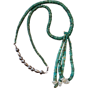 Vintage Green Turquoise Necklace With Jacla