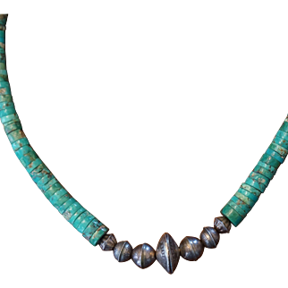 Pueblo Turquoise Heishi Necklace With Mercury Dime