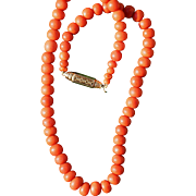 Antique Coral Necklace 14kt Gold Clasp