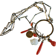 Coral Drop Necklace With Figa And Skull Charms