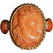 Antique Coral Cameo Ring