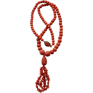 Faceted Coral Tassel Necklace