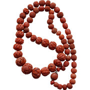 Antique Carved Coral Necklace
