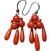 Victorian Coral Drop Earrings