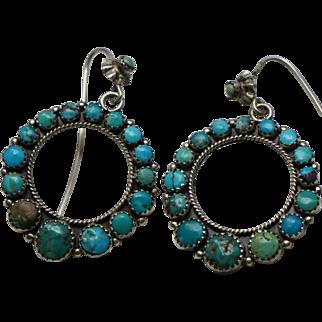 Vintage Turquoise Hoop Earrings